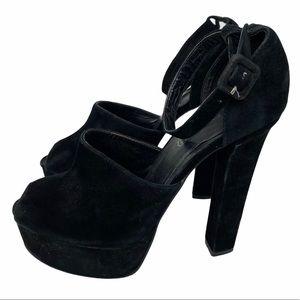 Aldo Black Suede Chunky Heels Size 9
